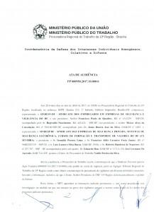 1ª Audiência Pública de Negociações no MPT motivada pelo SINDESP/DF.